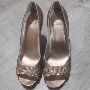 Stuart Weitzman gold embellished open toe heels 8